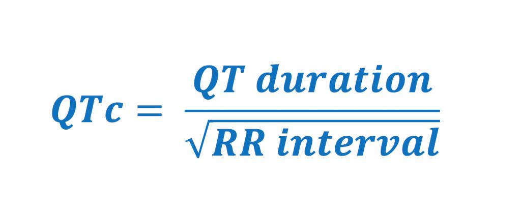Formel 1. Bazetts formel för korrigering av QT-tid. Samtliga variabler anges i millisekunder.